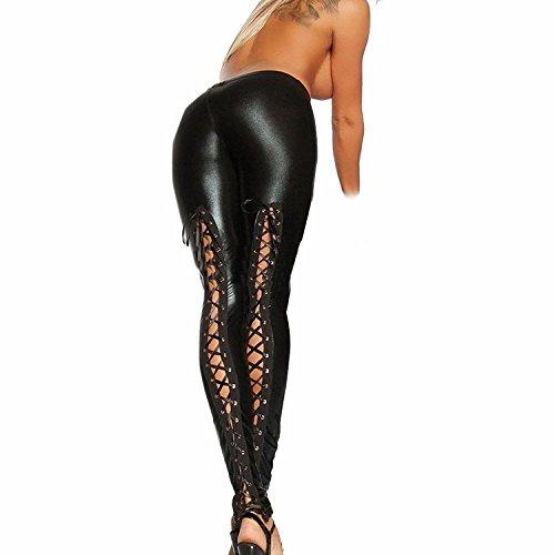 Pantalones de cuero Leggins Cuero Pantalón Elástico Negro para Mujer