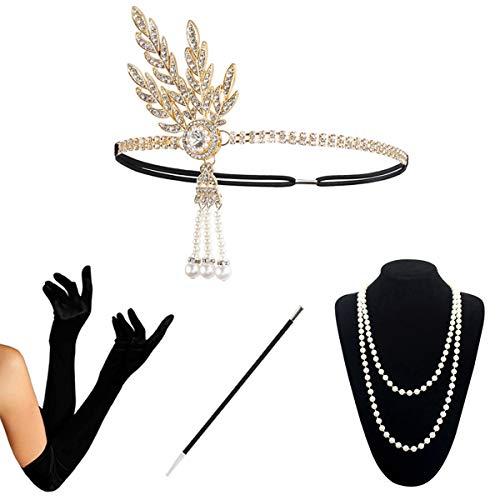 KQueenStar 1920s Damen Gatsby Kostüm Accessoires Set Halskette -