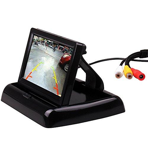 hitcar Auto klein Mini Farbe Digital Flip Down Faltbare Rear View Reverse Parking Kits Combo HD TFT-LCD Monitor Backup Kamera -