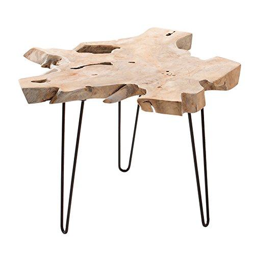 Massiver Teak Beistelltisch WILD 60cm Baumscheibe Couchtisch mit Jahresringen Holztisch Massivholz - Alt Couchtisch