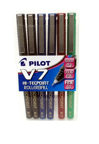 Pilot Pen V7 - Astuccio da 6 penne a sfera, colori assortiti