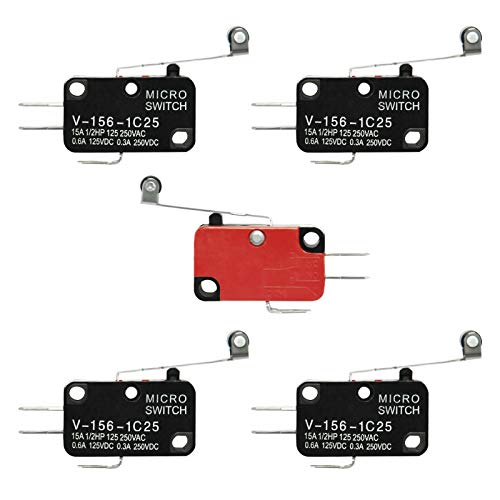 gikfun v-156-1C25Micro Limit Switch lang Scharnier Roller Momentary SPDT Snap für Arduino (Pack von 5x) ae1056 - Limit Switch, Roller