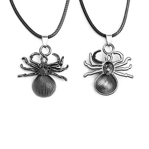 VAWAA Halloween Halskette Black Spider Animal Series Für Frauen Dekoriert Geschenkfashion Schmuck Über 45cm Long, 1 Stück