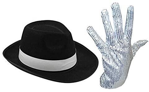 Chapeau noir à bande blanche du Roi de la pop avec son gant blanc à paillettes.