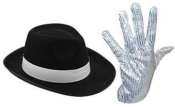 MENS LADIES MICHAEL JACKSON SILVER SEQUIN GLOVE AL CAPONE HAT 70 80S FANCY DRESS (SILVER GLOVES/BLACK HAT)
