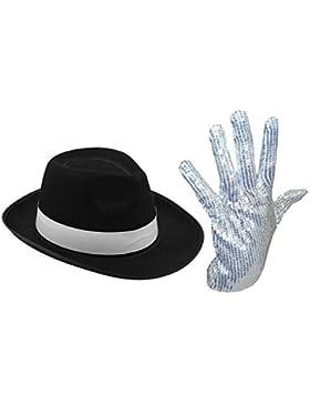 Sombrero del Rey de la pop con sonido guante blanco con purpurina.