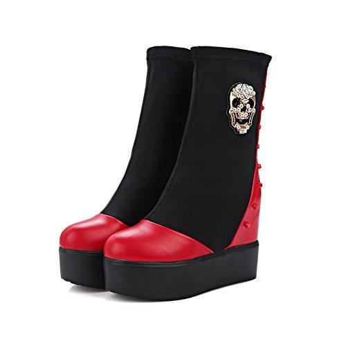 VogueZone009 Damen Rein Blend-Materialien Wedges Rund Zehe Stiefel mit Metalldekoration, Schwarz, 38