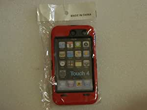 Generic Red Deluxe Hybrid Premium Rugged Hard Soft Case Skin Cover for iPod Touch 4th Generation 4G 4