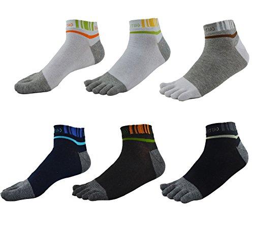 Herren Jungen Zehensocken Baumwolle Low Cut Bunt Sport Socken 6 Paar WZMC0012 (Herren Low-cut-socken 100 Baumwolle)