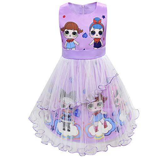 Kostüm Puppen Trolle - LOL Puppen Mädchen Kleid Sommer Rundhals Ärmellos Big Dot Cartoon 3-8Years (Lila, 130 (5-6 Jahre))