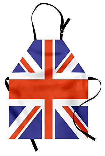 Union Jack Schürze, klassische traditionelle Flagge Vereinigtes Königreich moderne britische Loyalität, Unisex-Küchenschürze mit verstellbarem Hals zum Kochen Backen Gartenarbeit, Royal Blue White ()