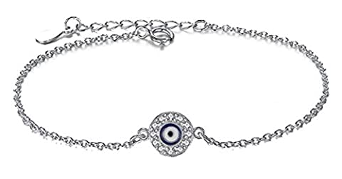 SaySure - 925 sterling-silver-jewelry chain bracelet round blue