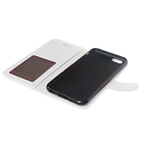 Für iPhone 6S Leder Brieftasche Hülle Case Flip Cover - Funyye [Schwarz Solide Farbe] Magnetic PU Ledertasche Hüllen Flip Cover Telefon-Kasten Handyhülle Bookstyle Wallet Brieftasche Card Slot Handyca Weiß
