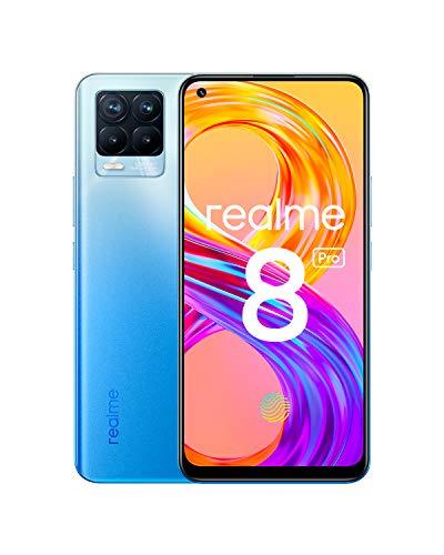 "Oferta de realme 8 Pro Smartphone Libre, Cámara cuádruple Ultra de 108 MP, Pantalla completa AMOLED superior de 6,4"", Carga SuperDart de 50W, Batería de 4500 mAh, Dual Sim, 8+128GB, Azul (Infinite Blue)"