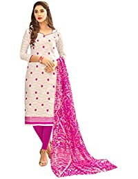 Women'S White Semi Stitched Embroidered Jacquard Dress Material