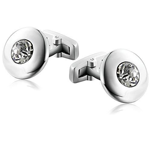 Aienid gemelli in acciaio polished mushroom round cz argento gemelli per uomo