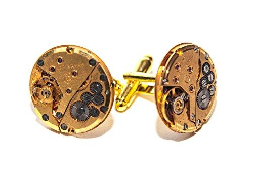 Jeff Jeffers Customs Ronds Or Montre Mouvement Boutons de Manchette pour Homme Steampunk Boutons de Manchette de Mariage Vintage