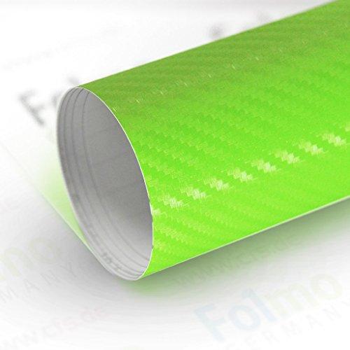 33,04€/m² Auto Folie Streifen Glanz, Matt, Carbonfolie mit Luftkanal (Carbon Grün 50x121cm)
