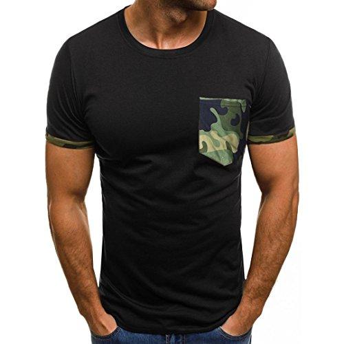 Preisvergleich Produktbild Basic T-Shirt Herren Bluse Mode 2018 Sommer Sonnena Herren Tops Camouflage Oberteile Slim Kurzarm Bluse Männer Tanktop Casual Muskel Schlank Kurzarm Hemden mit Tasche Sportbekleidung Atmungsaktiv (XL,  Schwarz 2)