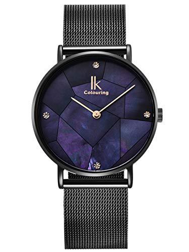 Alienwork Damen-Armbanduhr Quarz schwarz mit Metall Mesh Armband Edelstahl blau Perlmutt-Zifferblatt Ultra-flach Slim-Uhr elegant