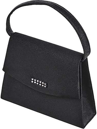 Ladies small Black bag with small rectangular diamante trim and handle Schwarz