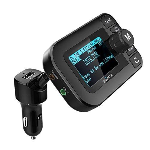Signstek 5 in 1 Auto DAB + Digital Radio mit Bluetooth FM Transmitter Empfänger und Car Kit / Ladegerät / Micro SD Player / Freisprechfunktion mit aktiver Antenne (2 Jahre Garantie) Auto-fm-radio-empfänger