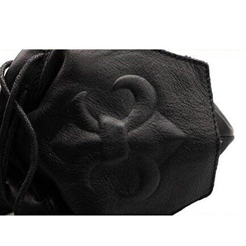MatchLife Femmes Classiques Handmade Martin Base Epaisse Lacets Bottines Style1 Noir