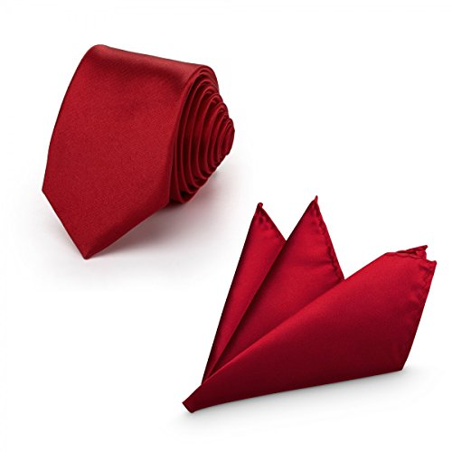 Rusty Bob - Herren-Krawatte mit Einstecktuch + Fliege - erhältlich in verschiedenen Farben - zum Anzug, zur Taufe, Hochzeits-Set - 3-teilig - Magenta (Brusttasche-krawatte)