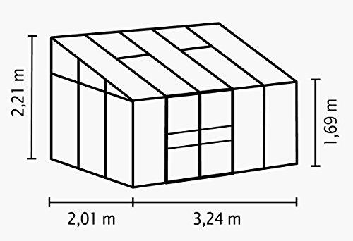 Gartenwelt Riegelsberger Anlehngewächshaus Ida – Ausführung: 6500 HKP 4 mm Alu, Fläche: ca. 6,5 m², mit 2 Dachfenster, Sockelmaß: 1,90 x 3,17 m