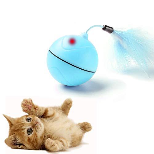 FIRIK Bola de Carga USB automática para Juguetes para Gatos con luz interactiva interactiva y entretenida para Juguetes con Pluma Desmontable para Gatitos - batería Recargable