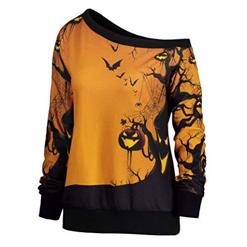 Innerternet Bluse Pullover Damen Casual Lose Bat Kürbis Druck Schulterfrei Sweatshirt Lange Ärmel Oberteile Tops Tunika Halloween Party Kostüme Langarm T-Shirt