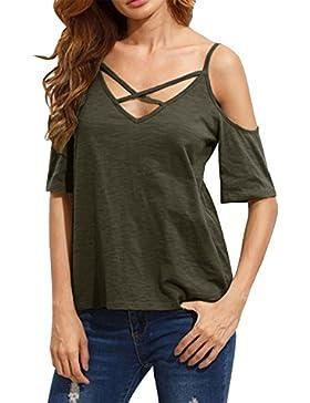 StyleDome Donna Maglietta Manica Corta Senza Spalline Bluse Sexy Elegante Casual T-Shirt Top