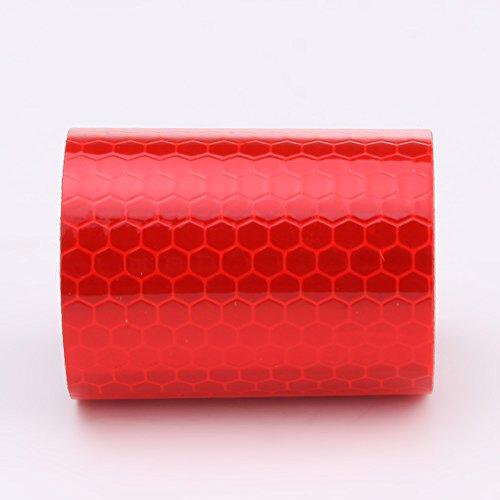 Sks distribution - nastro adesivo di sicurezza catarifrangente, 5 cm x 3 m, per auto e moto, colore rosso