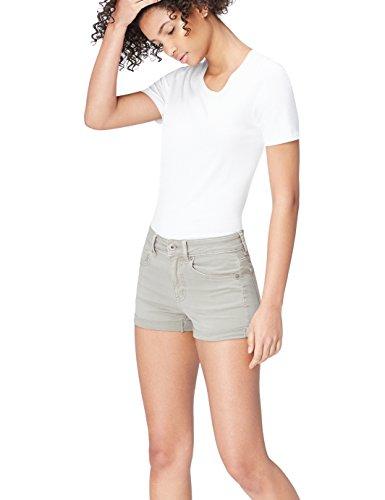 FIND Pantalón Corto Vaquero Suave para Mujer , Gris (Grey), 38 (Talla del Fabricante: Small)
