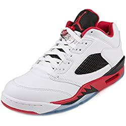 Nike Air Jordan 5 Retro Low, Zapatillas de Baloncesto para Hombre, Blanco / Rojo / Negro (White / Fire Red-Black), 42 1/2 EU