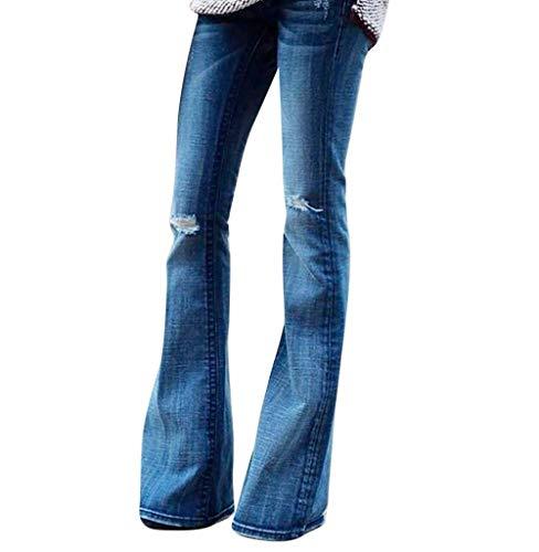Tomatoa-Damen jeans Hose Damen Bootcut Damen Jeanshose Schlaghose Hüftjeans hohem Bund und weitem Bein Hose Elastische Dünne Hosen Damenjeans S-XXL High Waisted Bootcut Jeans