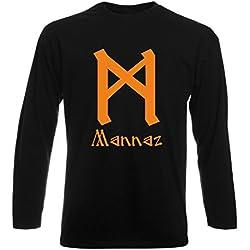 Camiseta Manga Larga Negra con Runa MANNAZ