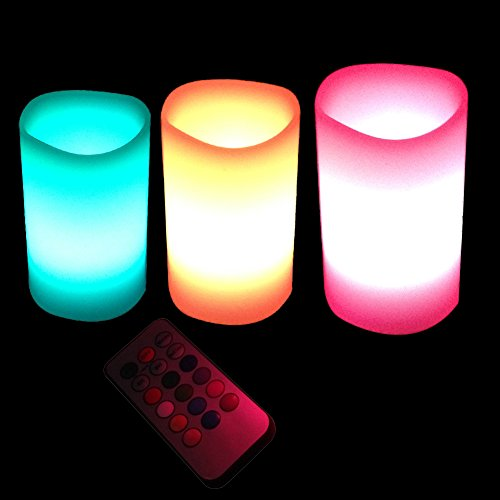 luerme 12batteriebetrieben Licht flammenlose LED Teelicht Tee Kerzen Hochzeit Licht 3PCS Color Changing (Flammenlose Lichter Bulk Tee)