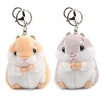 مجموعة من 2 قطعة جميلة من القطيفة على شكل هامستر من RAYNAG ميدالية مفاتيح عليها رسومات حيوانات محشوة حلقة مفاتيح ساحرة حقيبة يد