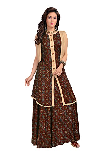 MT Printed jacket style long gown Kurta - Party wear stitched kurtis...