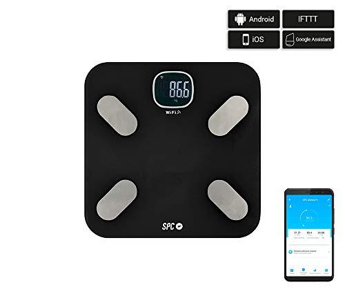 BASCULA BAÑO SPC ATENEA FIT 6501N NEGRA WIFI INTELIGENTE Báscula de análisis corporal inteligente WI-Fi // Usuarios ilimitados. // Monitorización de más de 15 parámetros de medición desde la App SPC IoT: peso, grasa corporal, contenido de agua, IMC, ...