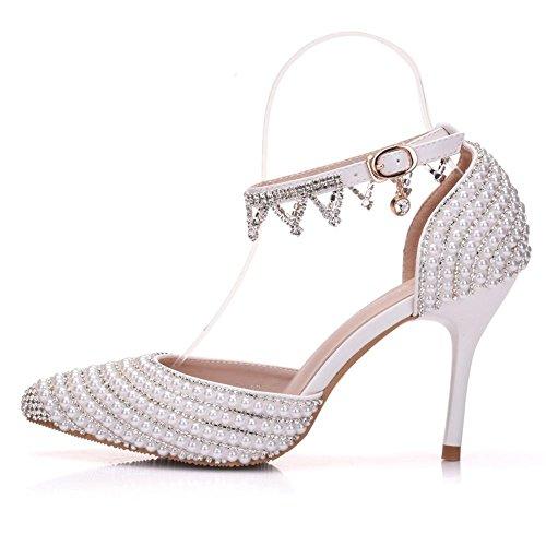 Damen Spitz Zehe Perlen Strass Knöchel Gurt Hoch Absätze Pumps Hochzeit Braut Sandalen Gericht Schuhe Abschlussball Abend , White , EUR 36/ UK 3.5-4
