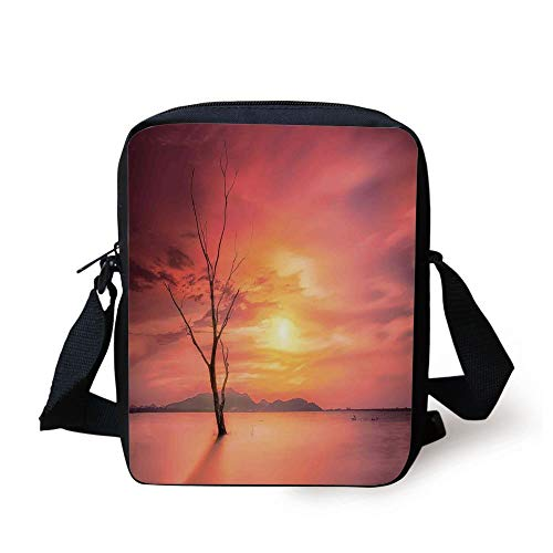 LULABE Mystic House Decor,Lonely Dead Tree Forest Hills and River Under Dramatic Sky Sunrise View,Yellow Coral Print Kids Crossbody Messenger Bag Purse (Bowling Ball Womens)