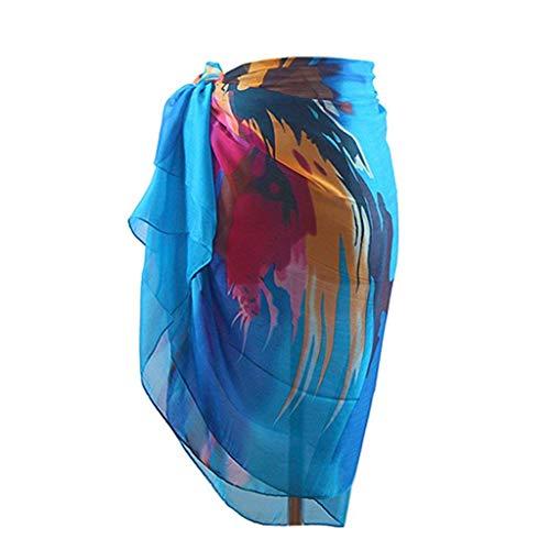 AZZRA Frauen Böhmen Chiffon Bademode Pareo Schal Strand vertuschen Wrap Kaftan Sarong Damen ärmelloses beiläufiges Strandkleid Tank Kleid ausgestelltes trägerkleid Neckholder - Sarong Tank
