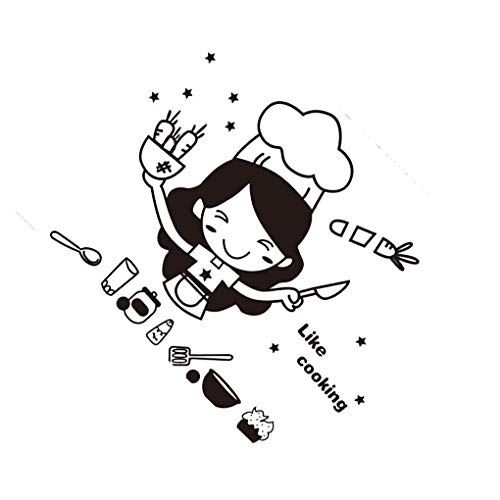 Royalr Küche Kaffee, Kuchen und Süßwaren Karikatur-Mädchen Kochen DIY Wand-Aufkleber Esszimmer PVC-Tapeten Removable Abziehbilder