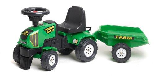 Falk 1014B Trattore giocattolo Power Master con rimorchio, Verde
