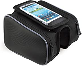 MobilX Cycling Bike Frame Bag Tube Pannier Pouch for 4.8 Inch Smartphones/Cellphone Mobiles Bicycle Accessories (Black, Medium)
