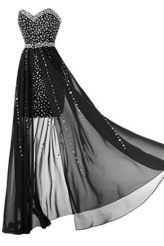 Toscana sposa Glaenzend a forma di cuore con Strass raso abiti da sera corto/vestiti lunghi partito della sfera Nero