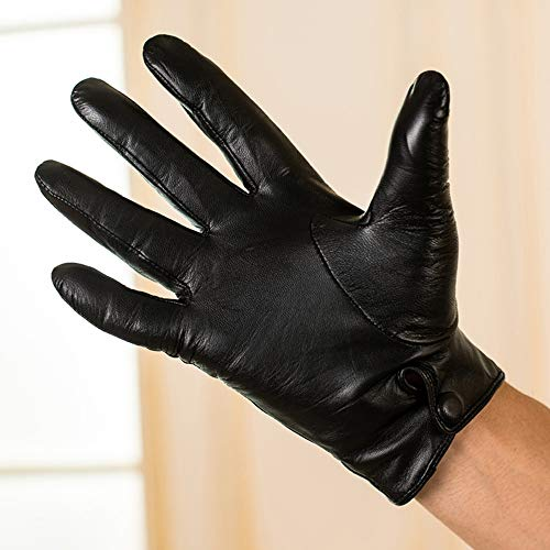 Agelec Touchscreen Lederhandschuhe Herren Dünne Wildlederhandschuhe Plus Samt Dicke Warme Herbst und Winter Business Motorrad Lederhandschuh (Color : Warm Lining, Größe : XL)