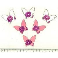 S&W - Decorazioni in legno leggero, farfalle bianche e rosa con brillantini